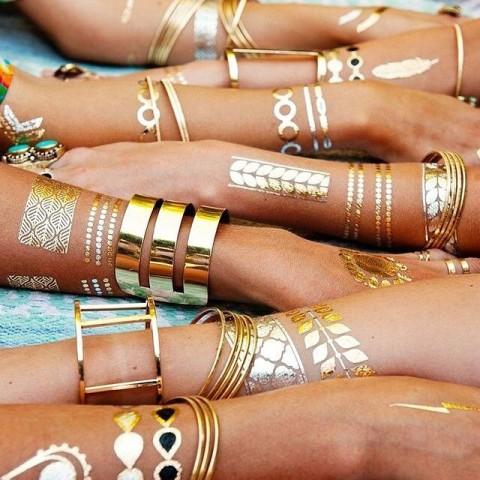 خرید برچسب تتو متالیک تاتو طلا و جواهرات اصل