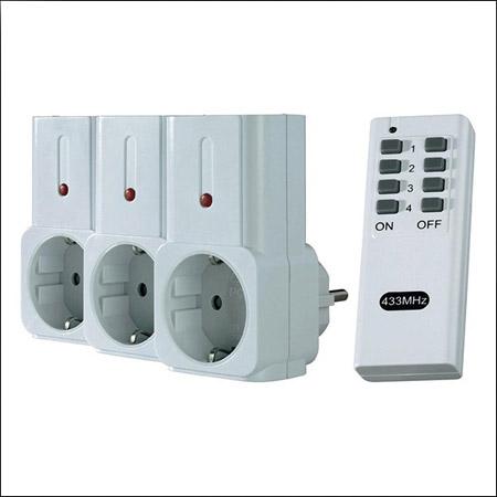 پریز دیواری برق همراه با ریموت کنترل , پریز کنترل دار 3 تایی